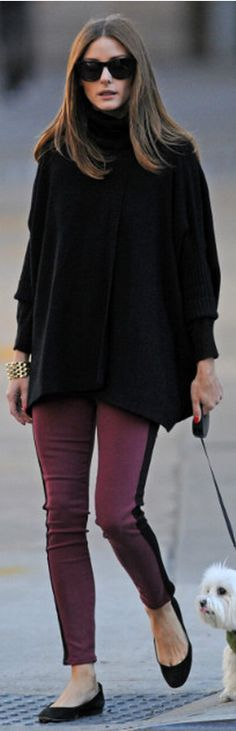 Who made  Olivia Palermo's black sunglasses, and tuxedo burgundy jeans that she wore in New York?