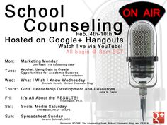 Introducing School Counseling on Air - Goggle+ Hangout for School Counselors. During National School Counseling Week! National School Counseling Week, Elementary School Counseling, School Social Work, Elementary Schools, Counseling Activities, Career Counseling, School Counsellor, Professional School, Professional Development