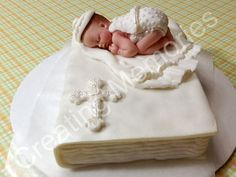 Baby in Laying on A book /Baby Shower/First Communion/Christening/Edible Cake Topper made with White Vanilla Fondant Boy or Girl