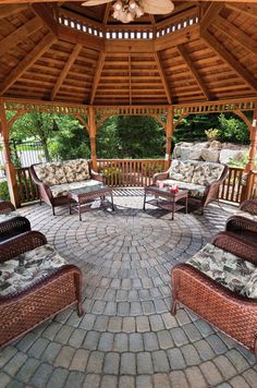 CST Roman Cobble Circle pavers in Hickory Blend create a beautiful paver floor under this outdoor gazebo. #pavers #gazebo #outdoorliving #hardscaping