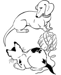 dog color pages printable Dachshund With Puppies coloring page