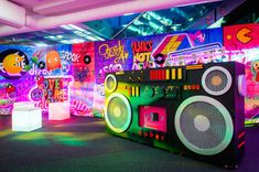 A large boombox stands in the entrance of your venue for your retro themed event, and takes your guests back to the This will be a night to remember! Event Themes, Event Decor, Party Themes, Event Ideas, Party Ideas, Disco Theme Parties, 80s Party Decorations, Company Party, Event Company