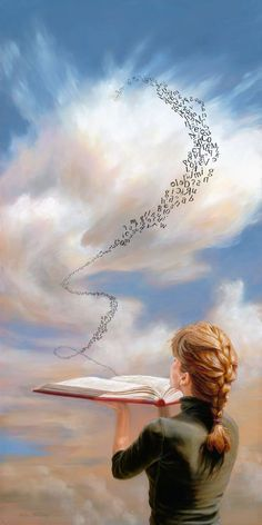 12 X 24 , Oil on panelWoman blowing letters from book is part of Reading art - Art Anime Fille, Anime Art Girl, Art Drawings Sketches, Cute Drawings, Art Prophétique, Image Blog, Prophetic Art, Reading Art, Girl Reading Book