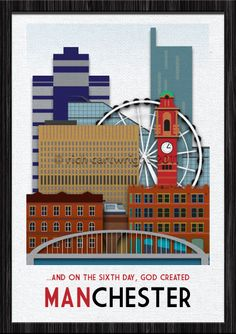 Manchester - New poster design dedicated to my favorite British city. There's a thousand reasons why I love this place… Mainly for the culture, music, creativity and football. It's a style done before, but I wanted to do my own tribute with this city in m Manchester New, Manchester England, Rochdale, Salford, New Poster, Illustrations, Vintage Travel Posters, Great Britain, Shopping