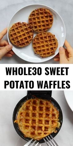 potato waffles made with two ingredients and ready in just five minutes! These sweet potato waffles are better than Eggos and can be made ahead and frozen for quick meal prep. Best paleo waffles for healthy eaters. Easy gluten free waffles for everyone! Sweet Potato Buns, Sweet Potato Waffles, Paleo Sweet Potato, Sweet Potato Recipes, Vegetarian Recipes Easy, Healthy Breakfast Recipes, Paleo Recipes, Gourmet Recipes, Whole Food Recipes