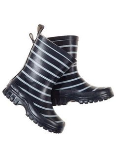 navy and white striped toddler rain boots