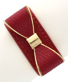 Look what I found on #zulily! Gold & Red Bow Leather Bracelet by Olivia Welles Jewelry #zulilyfinds