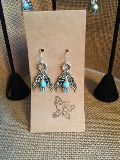 Turquoise Angel Wing Earrings by janericharddesigns on Etsy