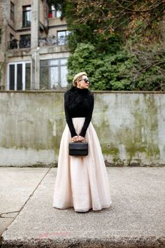 maxi skirt and black pullover