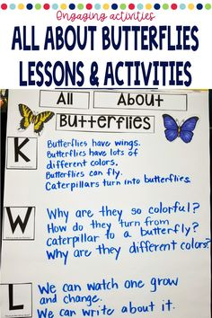 Distance Learning Butterfly Lesson Plans and Activities for Kindergarten Kindergarten Classroom, Kindergarten Activities, Classroom Ideas, Preschool, Writing Station, Vocabulary Cards, Hands On Activities, Science Lessons, Little Books