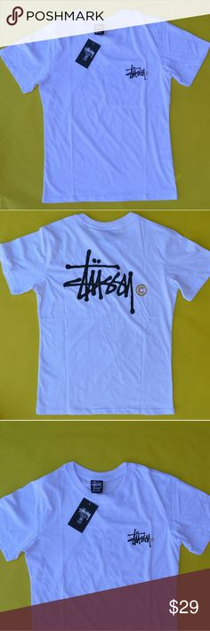 Stussy Women's White Logo Tee T Shirt NWT New Brand new white Stussy logo tee in women's size medium. Black logo with gold. Shirt is bright white, brand new and perfect. Looks a bit blue in photo, but it's white. Stussy Tops Tees - Short Sleeve