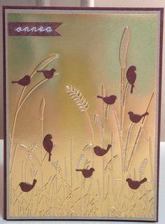 "By Minna0402 at Flickr.com. Dry emboss foil. Add die-cut birds. (Memory Box ""Resting Birds."") Stunning!"
