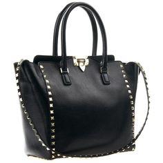 Valentino Black Structured Bag Rockstud ❤ liked on Polyvore