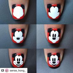 Steps to draw Mickey nails. Ongles Mickey Mouse, Mickey Mouse Nail Design, Mickey Nails, Minnie Mouse Nails, Nail Art Designs, Pretty Nail Designs, Nails Design, Nail Art Disney, Nagel Hacks