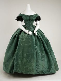 1858 American silk Civil war era fashion:
