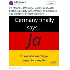 It's official – #MarriageEquality is about to become a reality in #Germany. #Ehefueralle https://www.ilga-europe.org/resources/news/latest-news/germany-marriage-equality …