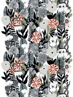 Marimekko's Kasvu fabric features a beautiful array of botanical motifs. The pattern, drawn by Maija Louekari, resembles a wild flower meadow and charms with its detailed stems, leaves and blossoms. Textile Patterns, Textile Design, Color Patterns, Fabric Design, Print Patterns, Print Design, Floral Patterns, Pattern Print, Art Print