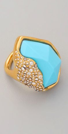 completely obsessed with this Alexis Bittar gold and turquoise ring