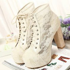 Women High Heels #Lace Up Hollow Fashion #Shoes Rubber Sole Shoestring #Sandals