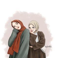Cartoon Girl Images, Cute Cartoon Girl, Cartoon Art Styles, Best Friend Drawings, Bff Drawings, Hijab Drawing, Friend Cartoon, Islamic Cartoon, Anime Muslim