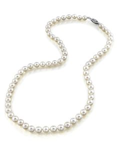 4.5-5.0mm Japanese Akoya White Cultured Pearl Necklace - AAA Quality, 16 Inch Choker Length. All Akoya Pearls are directly imported from the pearl farms of Japan. Our pearls represent the finest in pearl selection, hand picked for its luster, quality, color, and cleanliness. Each Necklace is affixed with the highest quality 14K gold clasp. Only the most elegant jewelry boxes are used to package and ship our necklaces, ensuring the most beautiful presentation possible. Additionally, all...