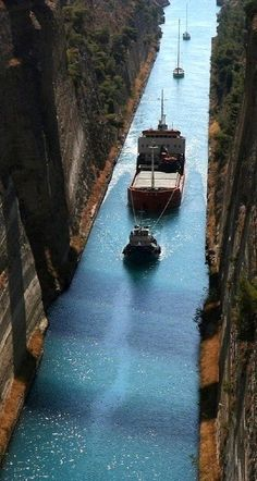 Corinth Canal (Peloponnese), Greece An engineering marvel you need to check out when in Greece! Mykonos, Santorini, Places To Travel, Places To See, Wonderful Places, Beautiful Places, Corinth Canal, Kusadasi, Greece Islands