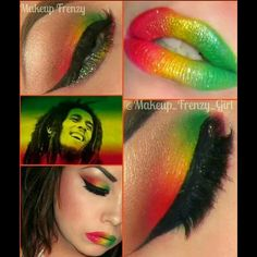 """""""One of my faves I've done! I love being over the top and having fun, why not right? Plus, Bob Marley makes me smile:) Used @eyekandycosmetics #redhot…"""""""