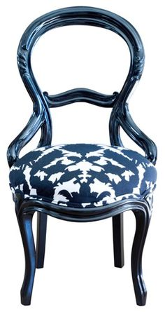 Balloon Back chair, originated in France and reached the height of popularity in the 1850s in Canada and England. This chair is made even more charming with the Thomas Paul fabric on the seat.