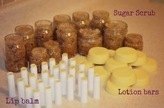 lip balm lotion bars sugar scrub