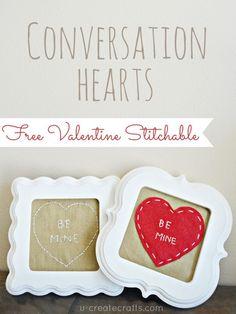 FREE Stitchable: Conversation Hearts Valentine Patterns at u-createcrafts.com