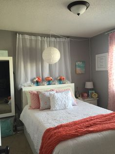 Coral Gray Grey Teen Girl Bedroom Sheer Curtain Lights  Allie's Best Curtains For Teenage Girl Bedroom Review