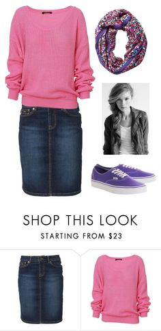 """Comfy"" by faithann210 ❤ liked on Polyvore featuring McGregor, Kate Spade, Vans, Pink, oversizedsweater, purplevans, messysidebraid and patternedscarf"