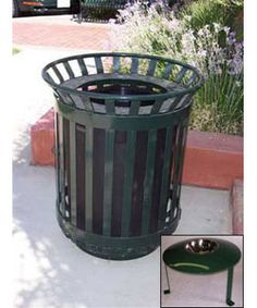 """45 Gallon Iron Valley Trash Receptacle. 145 Lbs. Powder coated ASTM #1018 steel. 2 1/4"""" space between slats. Primer powder coated with zinc rich base. 8 colors available. Locked access, side loading. Includes 45 gallon rubbermaid liner."""