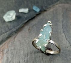 Rough Raw Aquamarine Sterling Silver Cocktail Ring by byAngeline, $160.00
