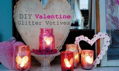 Homemade Valentines Day Gifts in a Jar - Glitter Mason Jars - DIY Valentines Day Ideas