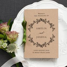 Rustic Order of Service Wedding Program / 'Vintage