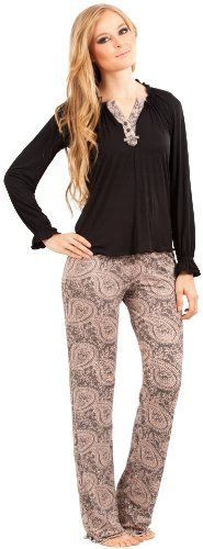 8b1f6c720bfd Adriana Arango Women s Long Sleeve Pajama Set Trendy Henley Top Pants