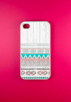 Aztec Iphone 4 Case - Aztec on White Wood Iphone Case, Iphone 4s Case.