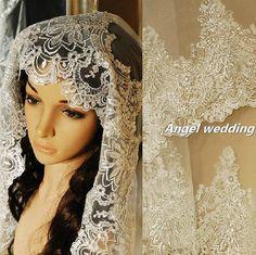 Vintage Wedding Veil Bridal Veil  Cathedral Length Veil fingertip length  Alencon Lace Trim Beaded on Etsy, $180.00