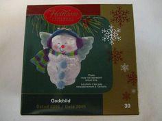 Godchild Snowman Angel Christmas Ornament Cherub Halo Wings Carlton Cards 2005