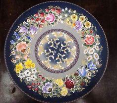 Pintura Bauernmalarei, handmadepainting prato em madeira Mundo da Arte