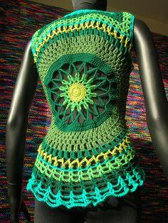 Poison Ivy Crochet Waistcoat, via Flickr.
