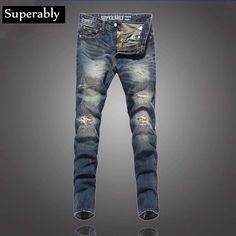 69.98$  Watch more here  - European Style Fashion Men Jeans High Quality Superably Brand Destroyed Ripped Jeans For Men Retro Vintage Street Biker Jeans
