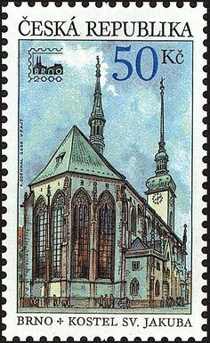 Stamp: STAMP EXHIBITION: The church of St. Jacob in Brno (Czech Republic) (Exhibition) Mi:CZ 244,AFA:CZ 244,POF:CZ 245
