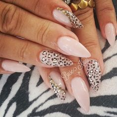 Nude Base Stiletto Nail Design with Animal Prints and Studs on Top for Accent.