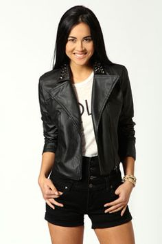 Shop boohoo Ireland's collection of women's coats & jackets. From biker jackets, trench coats, blazers and macs, we've got the perfect coat whatever the weather. Pu Jacket, Leather Jacket, Studded Collar, Online Shopping Clothes, Latest Fashion Trends, Jackets For Women, Coat, My Style, Rebel