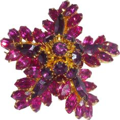 Vintage Signed Schiaparelli Pin in Shades of Pink and Purple Rhinestones