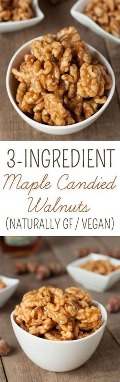 These healthier maple candied walnuts couldn& be easier! They only take 3 ingredients and 5 minutes {naturally paleo, vegan, grain-free, gluten-free, dairy-free} Appetizer Recipes, Snack Recipes, Cooking Recipes, Vegan Recipes, Paleo Vegan, Appetizers, Radish Recipes, Candy Recipes, Holiday Recipes