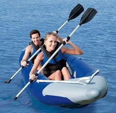 Inflatable Kayak 2 Person Boat PUMP Bag Sea Lake River Fishing Canoe Water Sport…