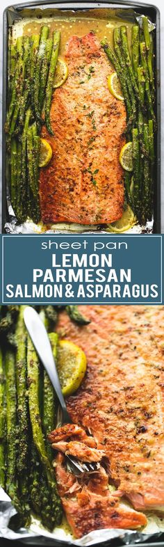 Sheet Pan Baked Lemon Parmesan Salmon & Asparagus in foil is the BEST 30 minute meal with minimal prep and cleanup! | http://lecremedelacrumb.com